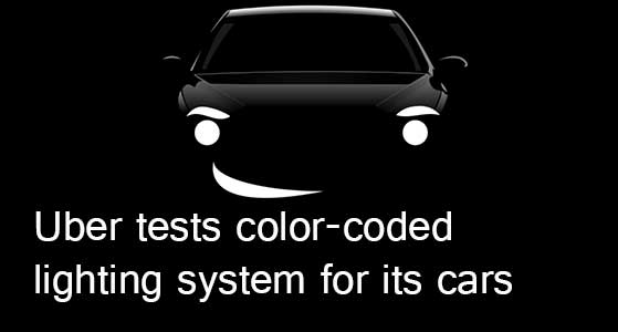 Uber tests color-coded lighting system for its cars